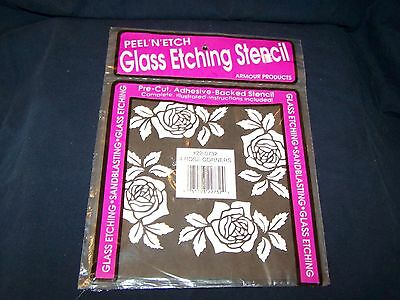 Armour 22-0732 Peel N Etch Glass Etching ROSE CORNERS 4 Piece Stencil Kit