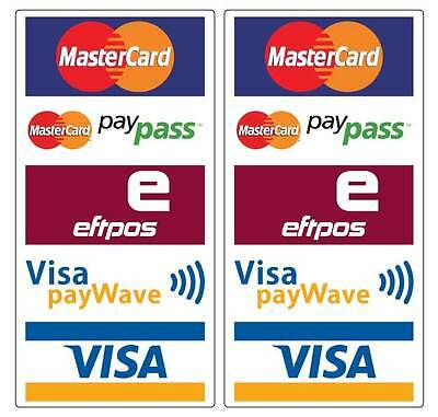 Paywave Paypass Mastercard Visa Eftpos Stickers 2 pack water & fade proof 200mm