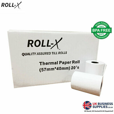 20 - 57x40mm Roll-X Thermal Till Rolls Chip & Pin PDQ (1 case x 20) UKB785
