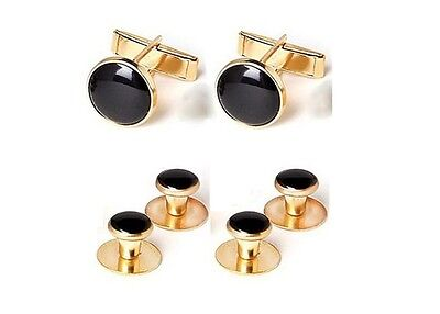 NEW Gold Black Tuxxman Tuxedo Cuff links Shirt Studs Formal Set Tux Cufflinks