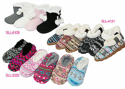 Womens Soft Warm Sherpa Non Slip Knitted Indoor Slippers Flat Shoes Booties