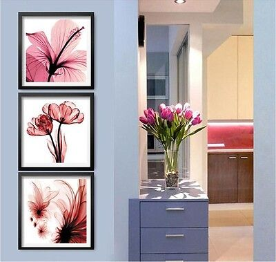 New High Quality Counted Cross Kits Triptych Moonlight Pink Flowers Hot Sell