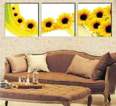 High Quality Cross Stitch Kits Triptych Yellow Sunflower Flower Hot Sell
