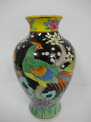 30% OFF!  Antique/Vintage Heavy Japanese Colorful Ceramic Vase With Birds