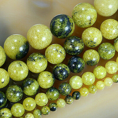 """Natural Yellow Fire Jade Round Beads 15.5"""" Pick Size 4,6,8,10,12mm"""