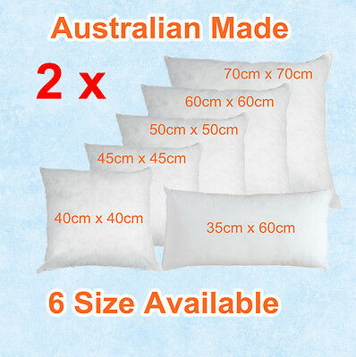 Aus Made Twin Pack CUSHION INSERTS Premium Polyester Fibre Filling(6 Size)