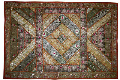 Silver zari work hand embroidered wall hanging tapesty throw tapestires India