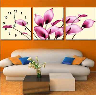 High Quality Cross Stitch Kits Triplet Pink Callalily Flower Clock New Hot Sell