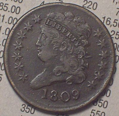 1809 HALF CENT Classic Head -Strong VF+/XF Brown Toning - Almost 180 Rotated Rev