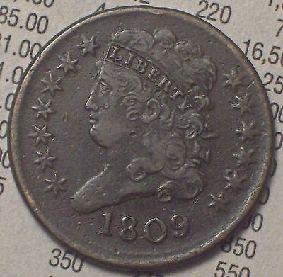 1809 HALF CENT Classic Head VF+/XF Detailing Brown Tone- Near 180 Rotated Rev HC