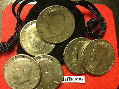 6x 1971 1972 1973 P D Kennedy Half dollar + Gift Bag FUN Old Coins LOW Cost 2nds