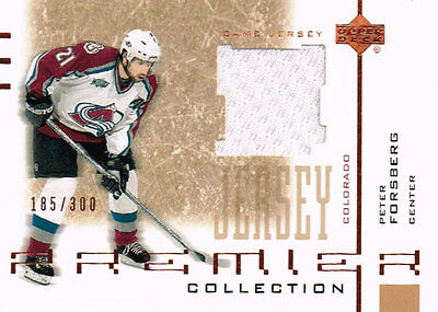 01-02 UD Premier Game Used JERSEY xx/300 Made! Peter FORSBERG