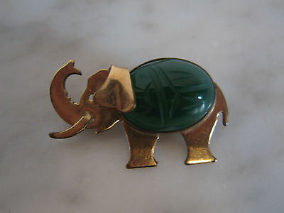Vtg Antique Egyptian Revival Carved Stone Scarab Set in Gold Filled Elephant Pin