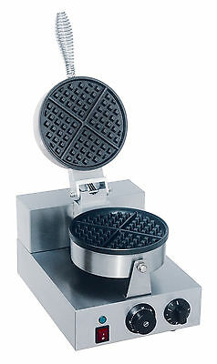 New Single Round Waffle Baker Grill Machine Commercial 1200W Timer 18.5 Cm Dia