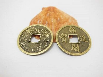 20 X Large Bronze Chinese Fengshui Auspicious I Ching Double DragonCoins 32mm