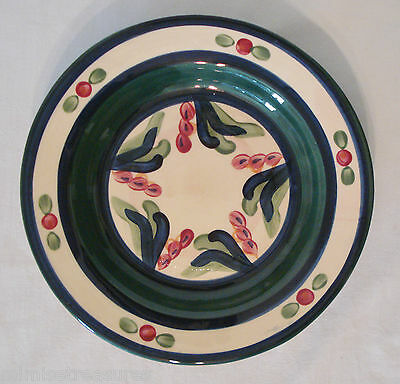 "Gail Pittman Juniper Rimmed Soup Bowl 9"" Green Red Blue Pottery MS USA China"