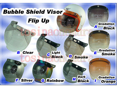 97c92ee0 UV Flip Up Bubble Visor For Open Face Scooter Motorcycl Retro Helmet 9 Color