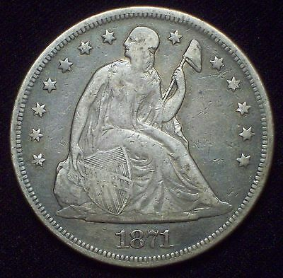 1871 SEATED LIBERTY SILVER DOLLAR strong VF+/XF Authentic *GORGEOUS COLOR* Coin