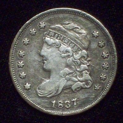 1837 BUST HALF DIME SILVER  Beautiful XF+ Early Authentic 5c *PRICED TO SELL*