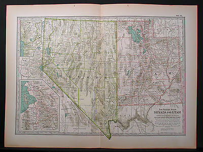 1897 Dbl Page Map, Nevada, Utah, Century Atlas, Gd Color, Detail, Margins