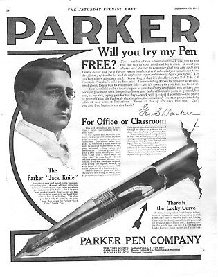 Parker Pen Co. with George S. Parker  -  Lucky Curve Fountain Pens  -  1909