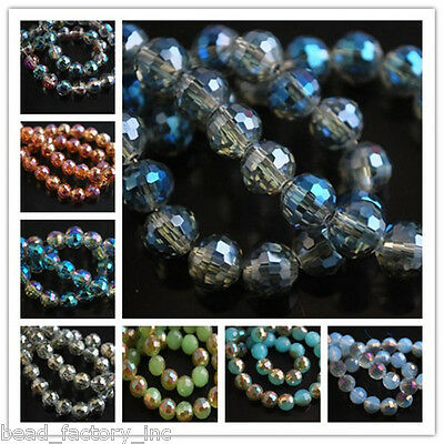 Multicolor 50pcs 8mm Round 96 Faces Crystal Glass Finding Charm Spacer Beads