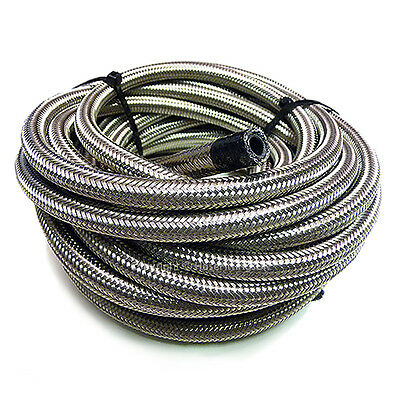 "AN -6 AN6 5/16"" 8MM Stainless Steel Braided RUBBER Fuel Oil Hose Pipe 1/2 Metre"