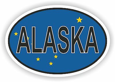 ALASKA STATE OVAL WITH FLAG STICKER USA UNITED STATES bumper decal car helmet