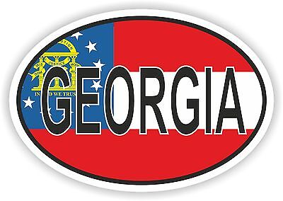 GEORGIA STATE OVAL WITH FLAG STICKER USA UNITED STATES bumper decal car