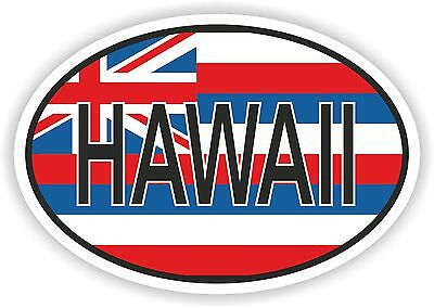 HAWAII STATE OVAL WITH FLAG STICKER USA UNITED STATES bumper decal car