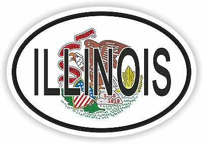 ILLINOIS STATE OVAL WITH FLAG STICKER USA UNITED STATES bumper decal car