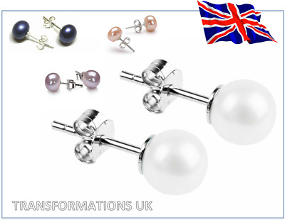 Genuine Freshwater Pearl Stud Earrings - 925 Sterling Silver - 4 Colours & Sizes