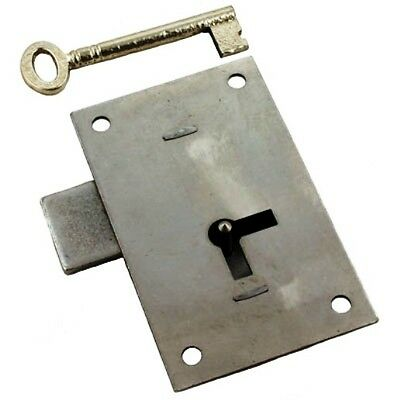L-4 Large Heavy Steel Wardrobe Door Lock & Skeleton Key