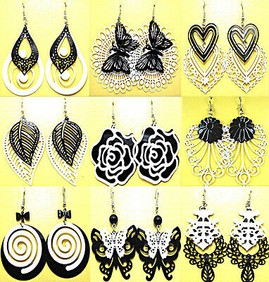 6pairs Mix style Black White Fashion Drop Earrings Wholesale jewelry lots Gift