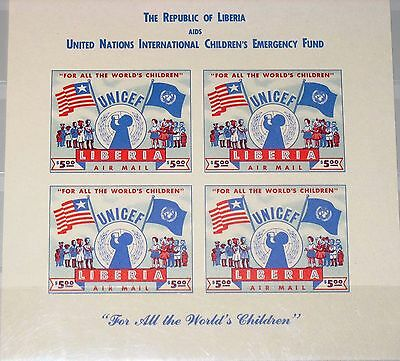 LIBERIA 1954 Klb 460 I U MS C77 imperf UNICEF Kinder Hilfsfonds Children MNH R !