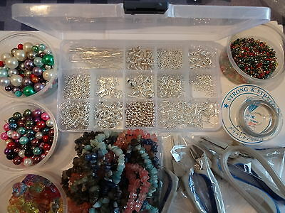 Superb Jewellery Making LARGE KIT Storage Box Gemstone Chips Tools Silver Plated