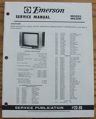 Emerson MS30R Service Manuals and Owners Manual