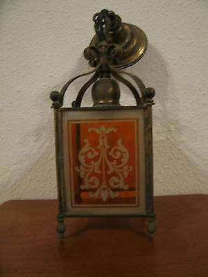 Vintage Antique Deco Mission Era Hanging Light w/ Orange / Amber Etched Glass