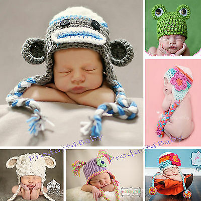 Baby Boy Girl Crochet Beanie Costume Hat 0-3, 3-6, 6-12M,1-3Yr Photography Props