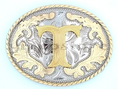 """Initial """"T"""" Letter Oval Gold & Silver Rodeo Western Cowboy Metal Belt Buckle"""