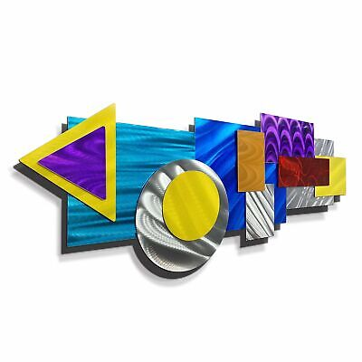 Statements2000 3D Metal Wall Sculpture Silver Blue Red Yellow Decor by Jon Allen
