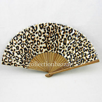 Chinese Leopard Spot  Bamboo Folding Silk HAND FAN Wedding Party Gift New A