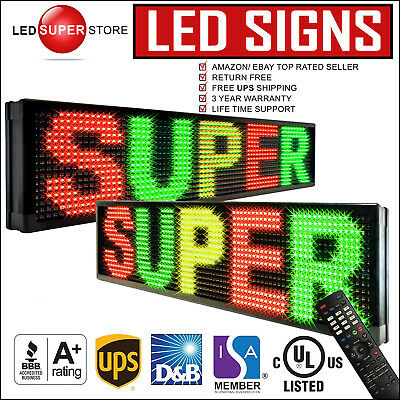 """LED Sign DOUBLE SIDED 22"""" x 98"""" Tricolor RGY P30 Programmable Outdoor Message"""