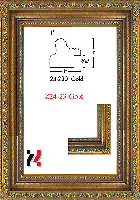 "Picture Frame Gold Ornate 1"" Wide Solid Wood Different Sizes to choice from"