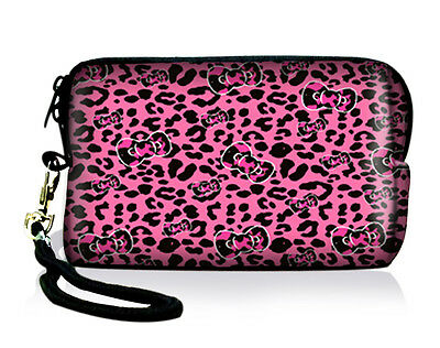 Pink Leopard Digital Camera Case Soft Bag Cellphone Iphone ipod Pouch Coin Purse