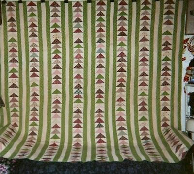 """GEESE IN FLIGHT"" Quilt: c.1870-80, Large King: 92"" x 98"", Cottons, Remsen, NJ."
