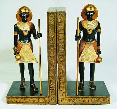 Ancient Egyptian Decorative Bookends Set of Two Pharaoh Guardian Figurine Statue