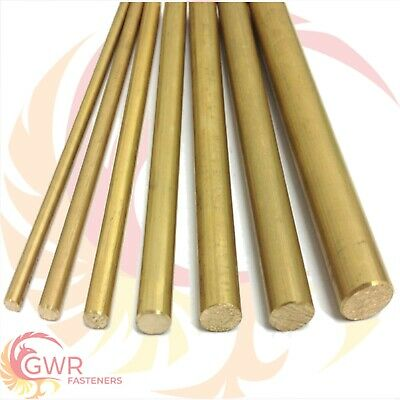 "3/8"" Brass Round Bar Rod CZ121 Various Length Options Inch Imperial """