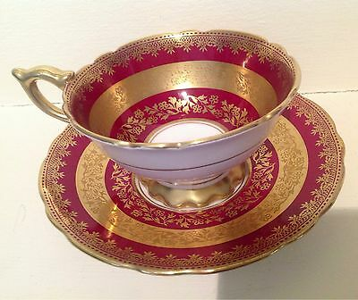 Gorgeous Royal Stafford Deep Red Rich Gold Tea Cup And Saucer