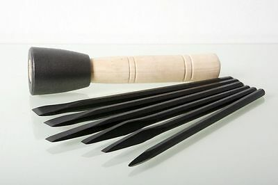 Italian Stone Carving Fire-Sharp Carbon Steel 6pc Chisel Set with Dummy Hammer